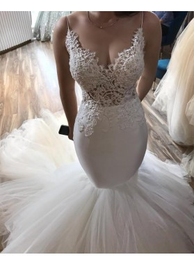 Sexy Mermaid Sweetheart Spaghetti Straps Tulle Ivory Wedding Dresses 2021