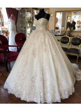 2020 Newly Sweetheart Spaghetti Straps Lace Long Ball Gown Wedding Dresses