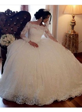 Long Sleeves Off Shoulder Lace Ball Gown Wedding Dresses 2021