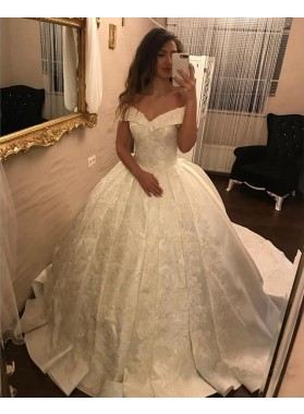 2020 New Arrival Off Shoulder Sweetheart Satin Ivory Ball Gown Wedding Dresses