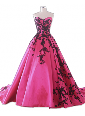 Sweetheart Fuchsia With Black Appliques Satin Ball Gown Prom Dresses
