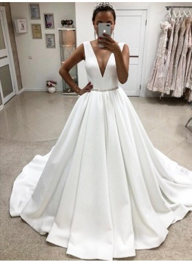 2020 A Line Elegant Deep V Neck White Satin Long Wedding Dresses
