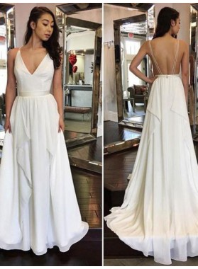 2021 Cheap A Line Chiffon Backless V Neck Wedding Dresses With Belt