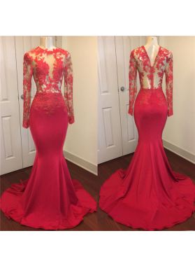 Sexy Mermaid Red See Through Zipper Long Sleeves Long African Prom Dresses