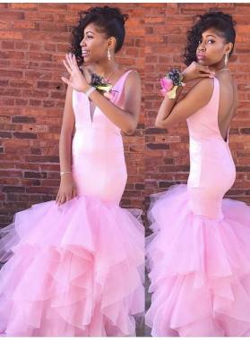 New Pink V Neck Backless Mermaid Ruffles Black Women's Long Prom Dresses