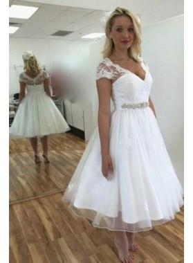 2021 New Arrival A Line Sweetheart White Tea Length Capped Sleeves Short Wedding Dresses
