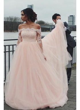 2020 Pink A Line Off Shoulder Long Sleeves Long Tulle Wedding Dresses