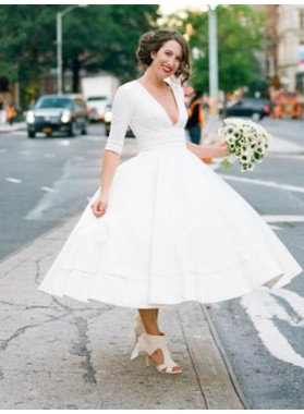 Elegant A Line White Tea Length Deep V Neck Long Sleeves Short Wedding Dresses