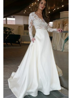 2020 Elegant Satin A Line Ivory V Neck Long Sleeves Wedding Dresses