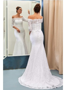 2020 Charming Mermaid Off Shoulder Long Sleeves Lace Up Back Lace Wedding Dresses
