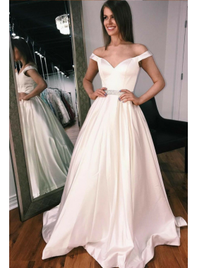 2020 Elegant A Line Satin Off Shoulder Sweetheart Wedding Dresses