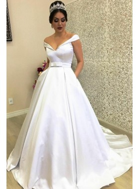 Classic New Arrival A Line Satin Off Shoulder Sweetheart Ivory Bowknot Wedding Dresses 2020