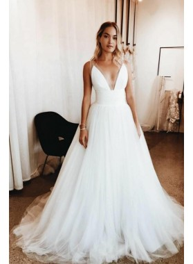 Elegant A Line Deep V Neck Ivory Tulle Long 2020 Wedding Dresses
