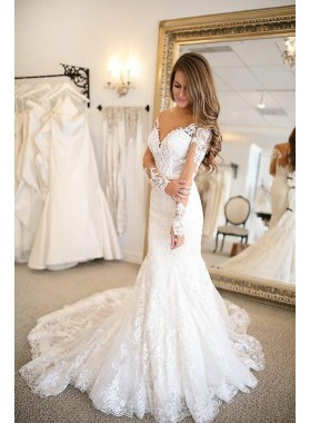 Sexy Mermaid Long Sleeves Lace Sweetheart 2021 Wedding Dresses