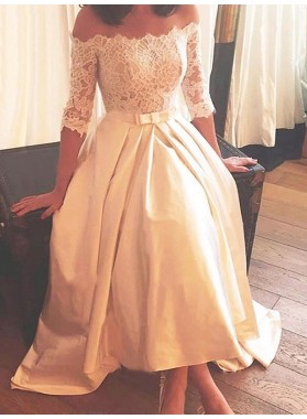 2020 A Line Elegant Ivory Tea Length Lace Long Sleeves Off Shoulder Short Wedding Dresses