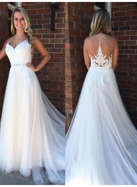 2020 Cheap A Line Tulle Sweetheart Long Wedding Dresses With Applique