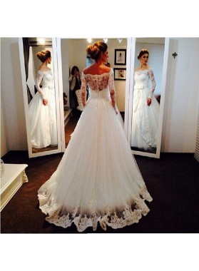 Elegant A Line Long Sleeves Off Shoulder Lace Bowknot 2020 Wedding Dresses