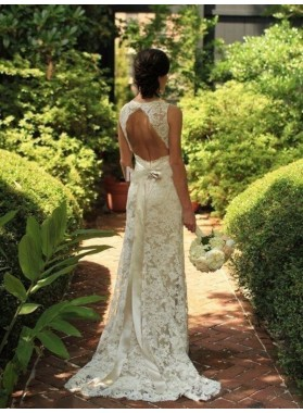 2020 Elegant Backless Sheath Sweetheart Bowknot Lace Wedding Dresses