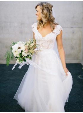 A Line Cheap Tulle V Neck Lace Capped Sleeves Wedding Dresses
