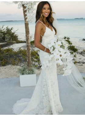 2019 Charming Lace Sheath Backless V Neck Spaghetti Straps Beach Wedding Dresses
