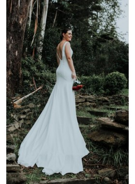 Amazing Mermaid V Neck Backless Long Train Outdoor Wedding Dresses 2021