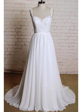 New Arrival Chiffon A Line Sweetheart Lace Backless 2021 Beach Wedding Dresses