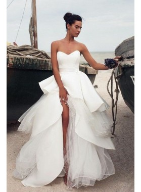 New Designer Sweetheart Ruffles Satin Over Tulle Lace Up Back 2019 A Line Wedding Dresses