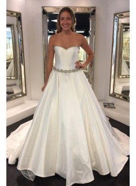Elegant Strapless Satin A Line Long Train 2021 Sweetheart Long Wedding Dresses