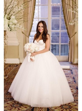 2020 Elegant Sweetheart Simple Tulle Pleated Ball Gown Wedding Dresses
