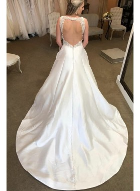 New Design A Line Backless Lace Satin V Neck Satin 2020 Long Wedding Dresses