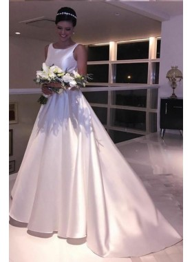 2020 Classic Satin A Line Backless Bateau Neck Long Wedding Dresses