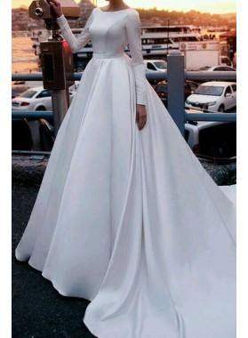 2019 Elegant A Line Backless Long Sleeves Satin Long Wedding Dresses