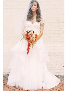 2019 White Cheap A Line Sweetheart Capped Sleeves Beaded Ruffles Wedding Dresses