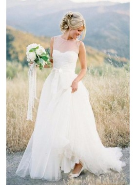 Elegant Tulle A Line Sleeveless Ivory With Belt Long Wedding Dresses 2020