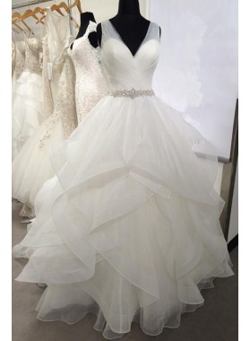 2019 New Arrival Sweetheart Organza Ruffles Backless Pleated Ball Gown Wedding Dresses