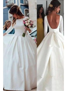 Classic A Line Long Sleeves Backless Satin Long Wedding Dresses 2021
