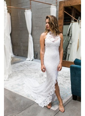 2019 Charming Sheath Asymmetrical Lace Backless Halter Beach Wedding Dresses
