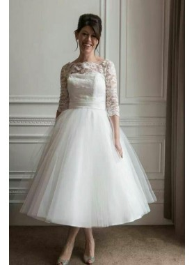 2021 New Arrival A Line Tea Length Tulle Ivory Long Sleeves Lace Short Outdoor Lace Wedding Dresses