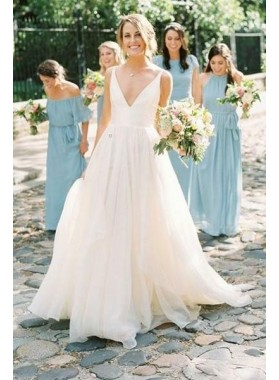 Amazing A Line Chiffon V Neck Backless Long Outdoor Wedding Dresses 2021