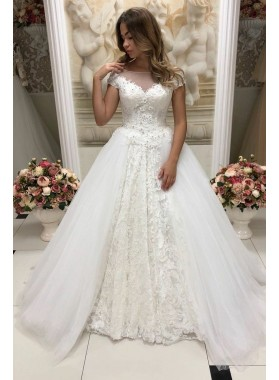 2021 New Designer A Line Tulle Sweetheart Capped Sleeves Lace Wedding Dresses