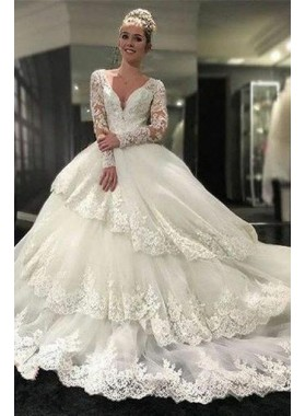 2020 Luxury A Line Layered Long Sleeves Sweetheart Long Lace Wedding Dresses 2020