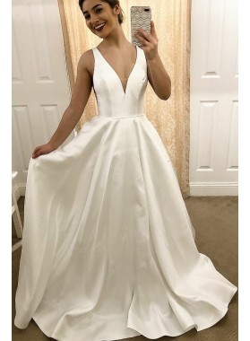 2021 Classic A Line Satin V Neck Ivory Sleeveless Wedding Dresses