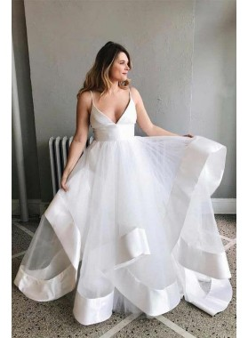 Cheap A Line White Sweetheart Tulle Backless 2020 Wedding Dresses