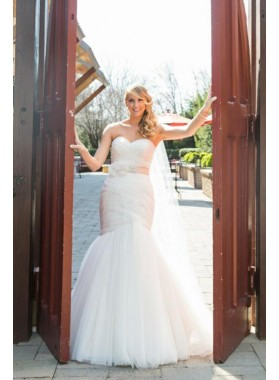 2021 Charming Sweetheart Mermaid Tulle Sleeveless Detachable Belt Ivory Wedding Dresses 2021