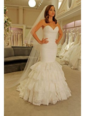 2020 New Arrival Mermaid Sweetheart Ruffles Pleated Lace Sleeveless Wedding Dresses