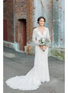 2021 Elegant Sheath Long Sleeves V Neck Lace Long Backless Wedding Dresses