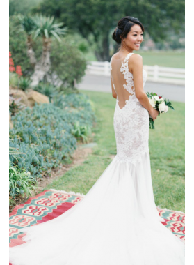 2020 New Arrival Sheath Sweetheart Tulle Lace Backless Long Wedding Dresses