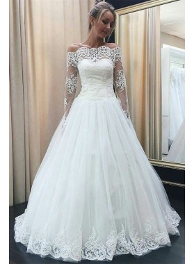 2020 Long Sleeves Off Shoulder Lace Tulle A Line 2020 Wedding Dresses