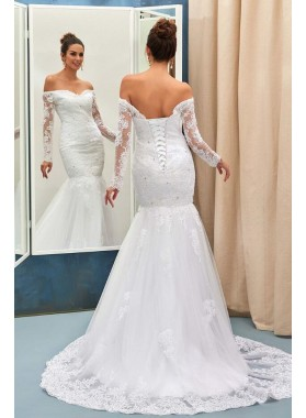Charming Mermaid Off Shoulder Sweetheart Long Sleeves Lace Lace Up Back Wedding Dresses 2020