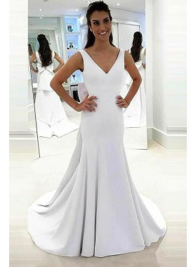2021 Classic Sheath V Neck Satin Bowknot Long Wedding Dresses